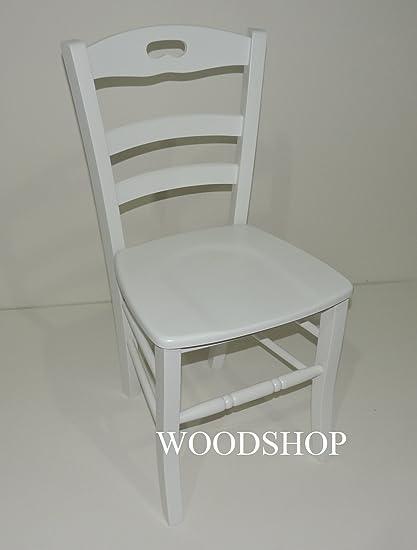 Woodshop SEDIA LEGNO MASSELLO BIANCA SEDUTA LEGNO modello LORY per ...