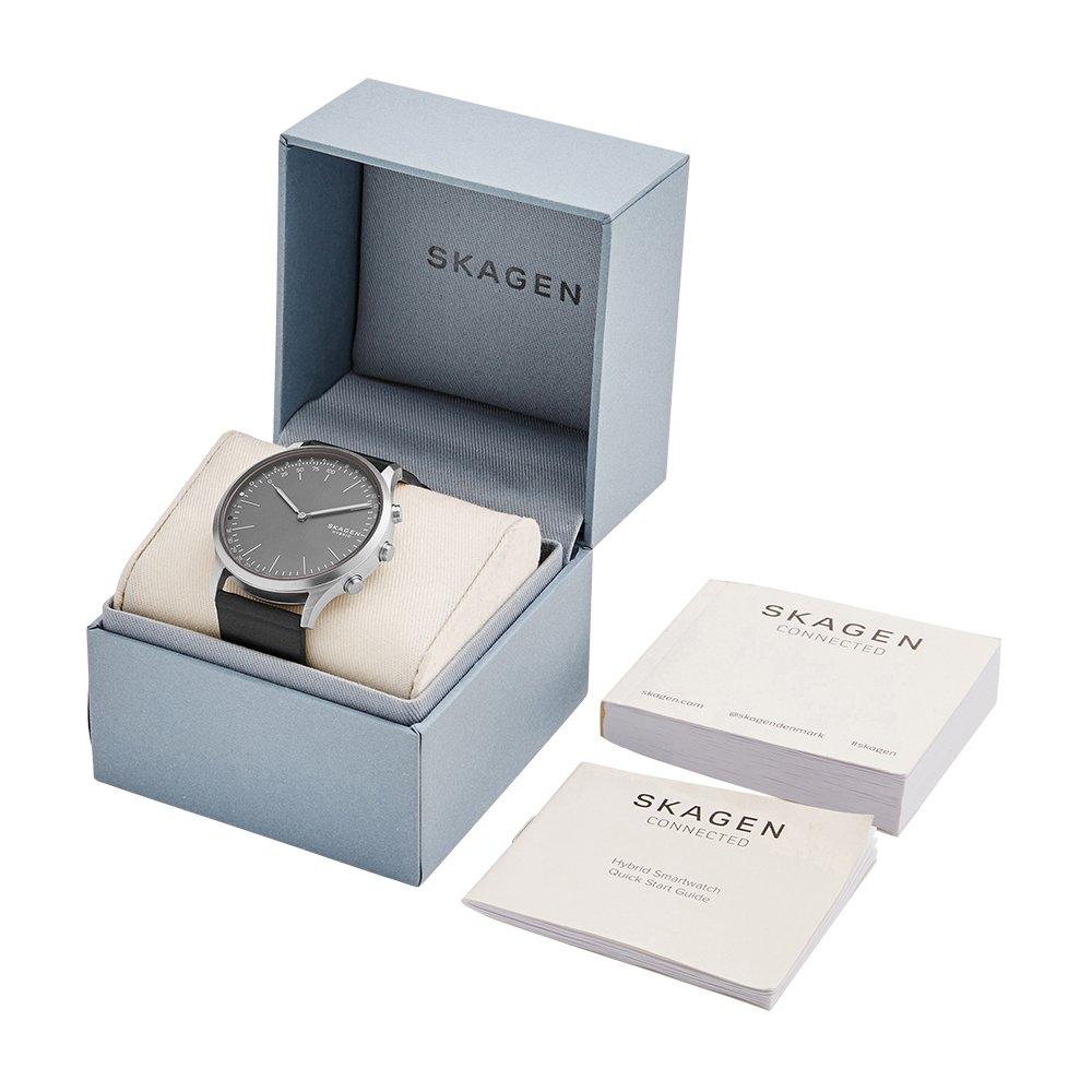 Skagen Connected Mens Jorn Stainless Steel and Leather Hybrid Smartwatch, Color: Grey, Black (Model: SKT1203)