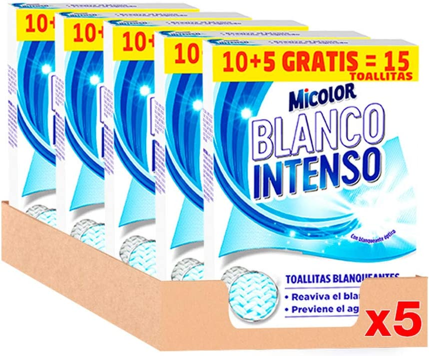 Micolor Toallitas Blanco Intenso 10+5D – Pack de 5, Total: 65 Toallitas: Amazon.es: Salud y cuidado personal