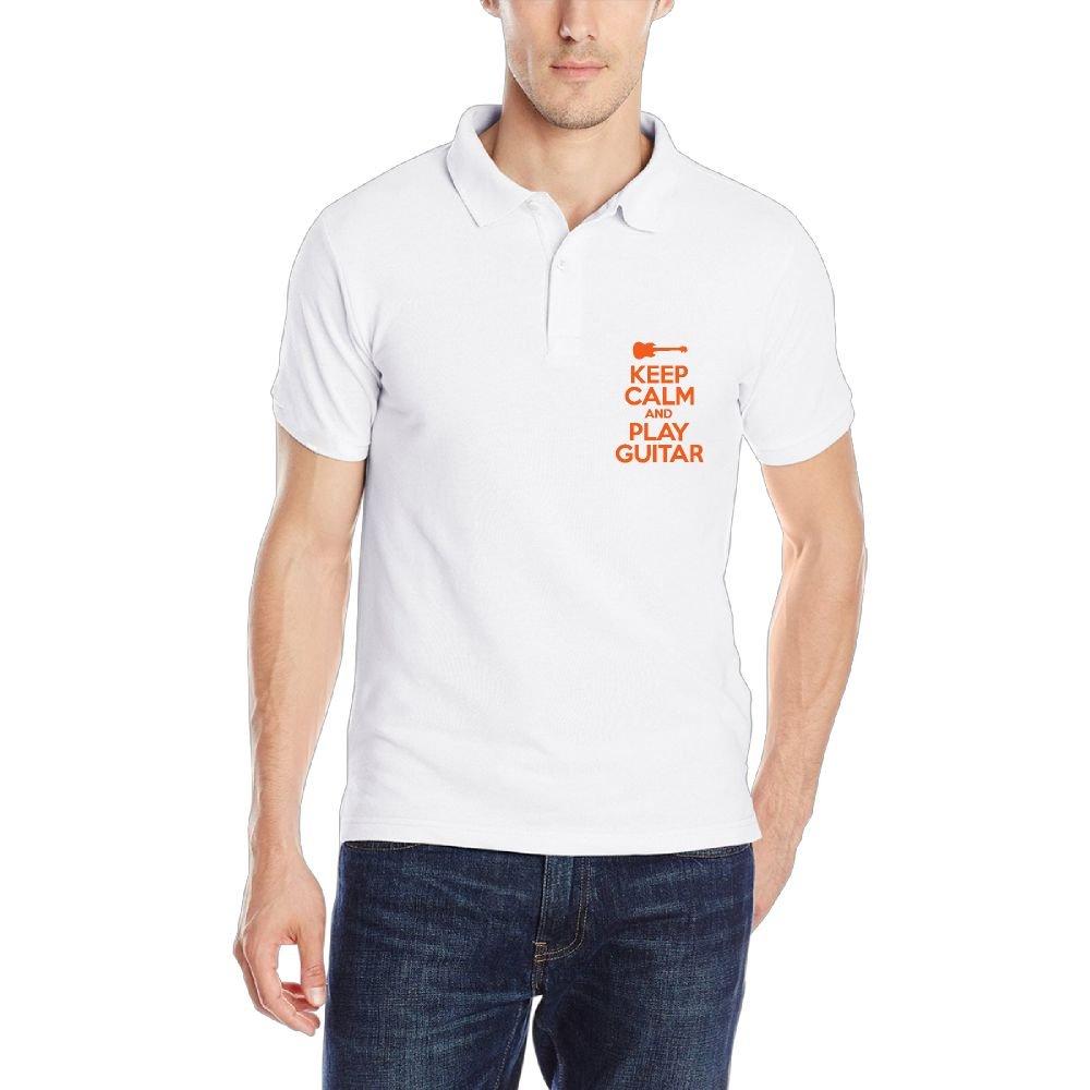 Kkajjhd Keep Calm and Play Guitar Mens Short Sleeve Classic Fit Cotton Polo Shirt