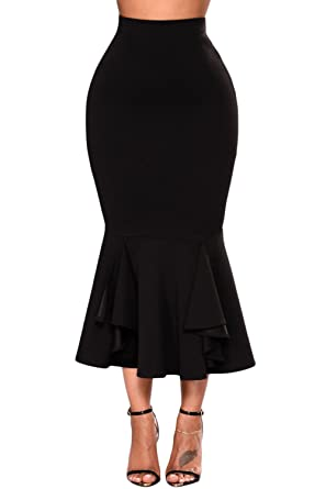 Fusenfeng Womens Plus Size Pencil Skirt Vintage High Waist Bodycon
