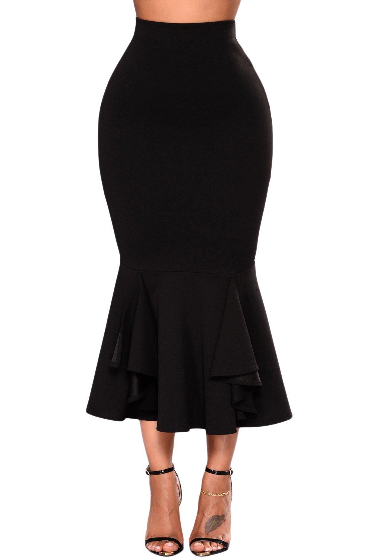 FUSENFENG Womens Plus Size Pencil Skirt Vintage High Waist Bodycon Mermaid Skirt S-XXL (Black, L)