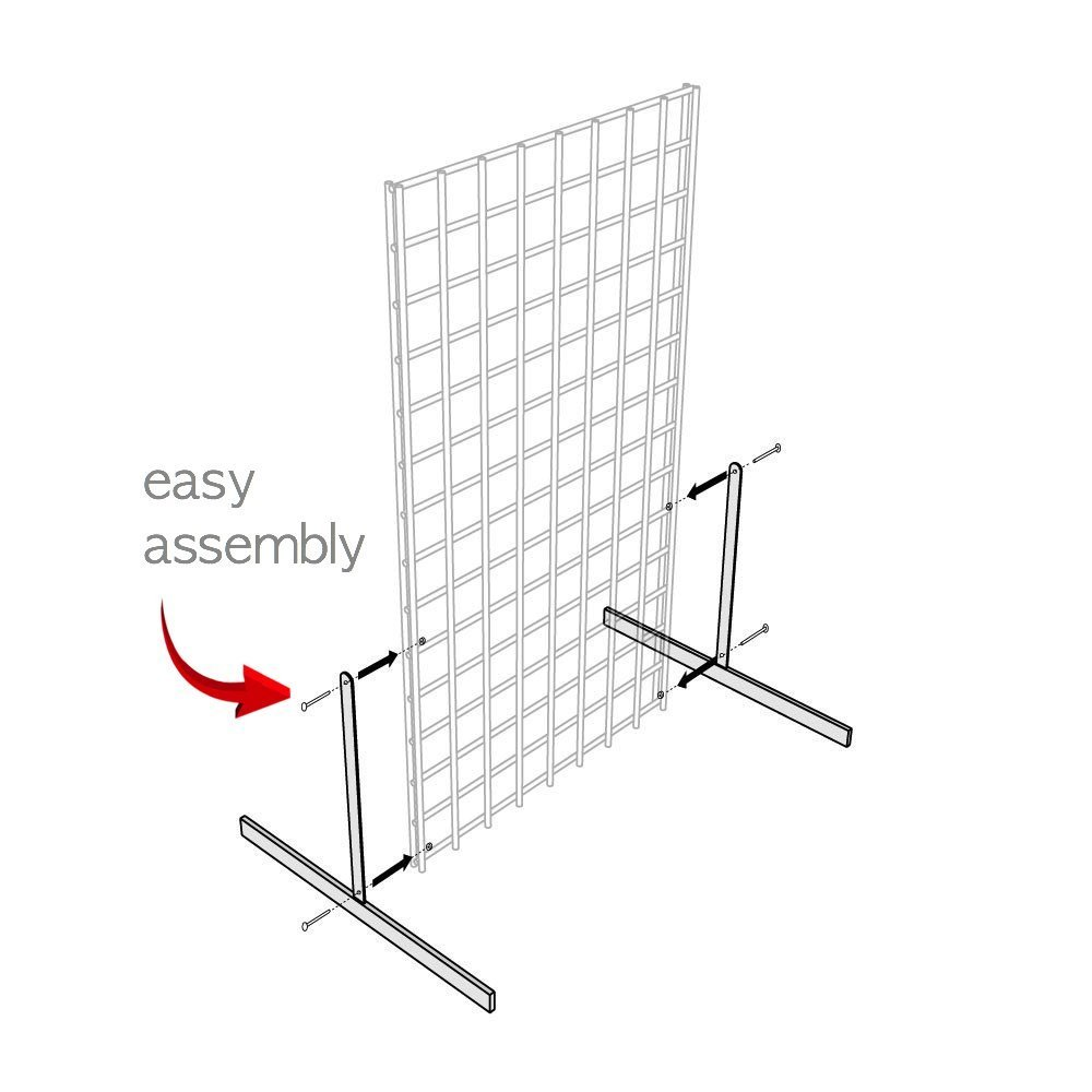 White Gridwall T Base Rectangular Tube With Levelers (Set of 3 Pairs) White Finish ... by Only Hangers (Image #2)