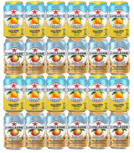 Assortment of San Pellegrino Sparkling Fruit Beverages, Drinks from Italy, Refrigerator Restock Kit (Pack of 24) Limonata/Lemon and Aranciata/Orange, 11.15 oz cans