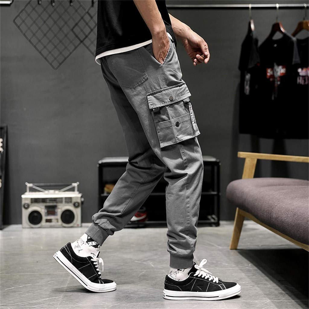 Amazon.com: YKARITIANNA Mens New Fashion Casual Cotton Elastic Waist Multiple Pockets Loose Jeans Pants: Arts, Crafts & Sewing