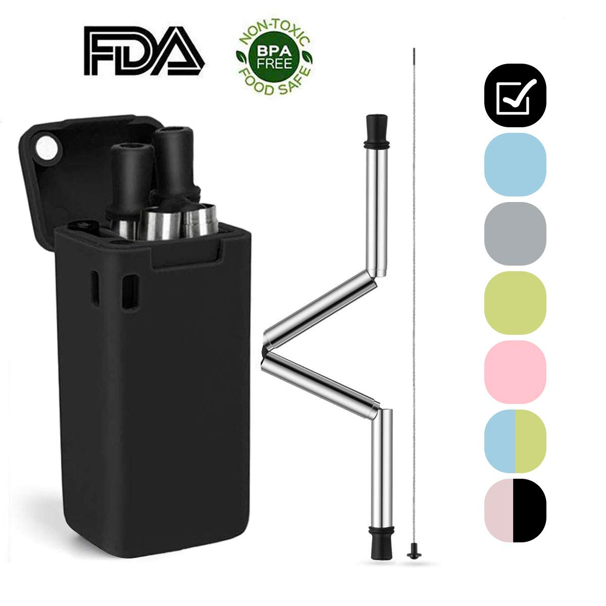 Reusable Stainless Steel Drinking Folding Straws with Cleaning Brush Portable Collapsible Straws Black