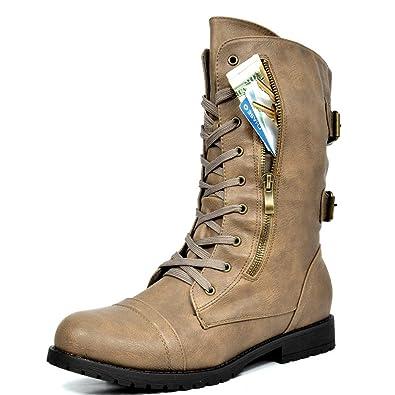 4139aa4e62e1 DREAM PAIRS Women s Terran Snow Khaki Faux Fur Lined Mid Calf Riding Combat  Boots Size 7