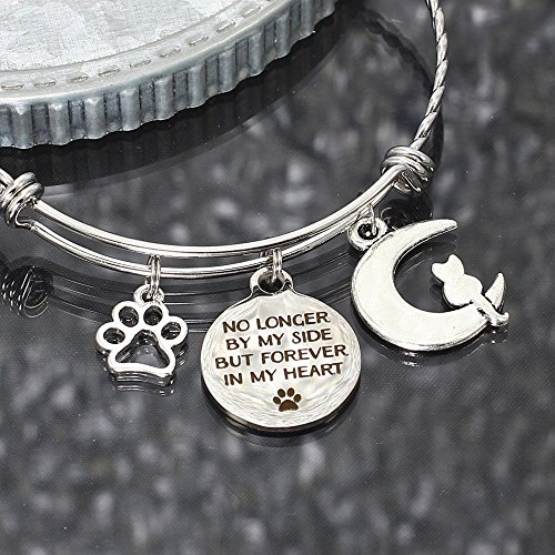 Cat Loss Personalized Stainless Steel Charm Bangle Memorial Gift Bracelet Forever in my -