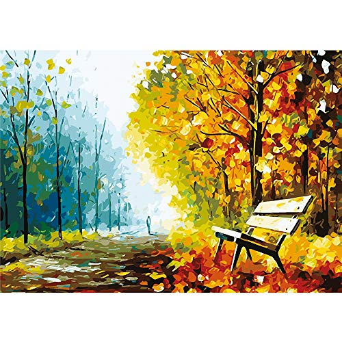 🥇 Puzzles for Adults Jigsaw Puzzles 1000 Pieces for Adults Kids–Autumn Scene Oil Painting Style Jigsaw Puzzle Game Toys Gift