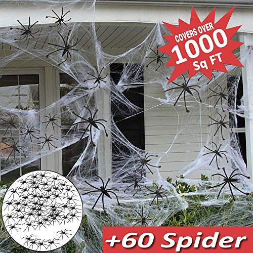 Sf Giants Halloween Costume (Halloween Decorations Outdoor 1000 Sq Ft Spider Web Decorations,Large Spider Web Stretch Mega Spider Silk with 60 Fake Spider for Outdoor Indoor Halloween Wall Garden Party Favor)