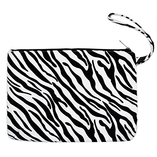 - Me Plus Women's Clutch Pouch Wristlet Purse Bag Zipper Closure (2 Patterns) (Zebra-White)