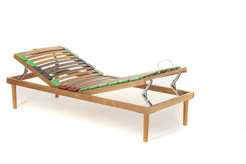 Materassimemory.eu Rete Singola in legno di faggio Alzata Manuale Testa Piedi mis. 80x190 doghe ammortizzate e basculanti