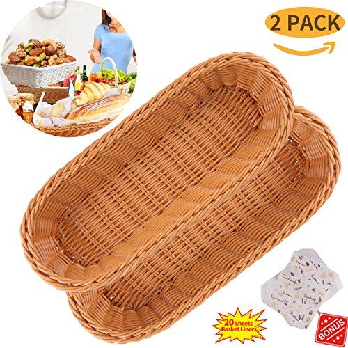 Bread Basket Made of Durable Poly Wicker Serving Basket for Restaurants Kitchen Tabletop Bread Basket with Liner