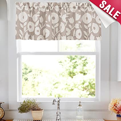 Curtain Valances for Windows 15 inch Length Floral Printed Valance for  Kitchen Window Linen Textured Rustic Valance Curtains, 1 Panel, Taupe and  White