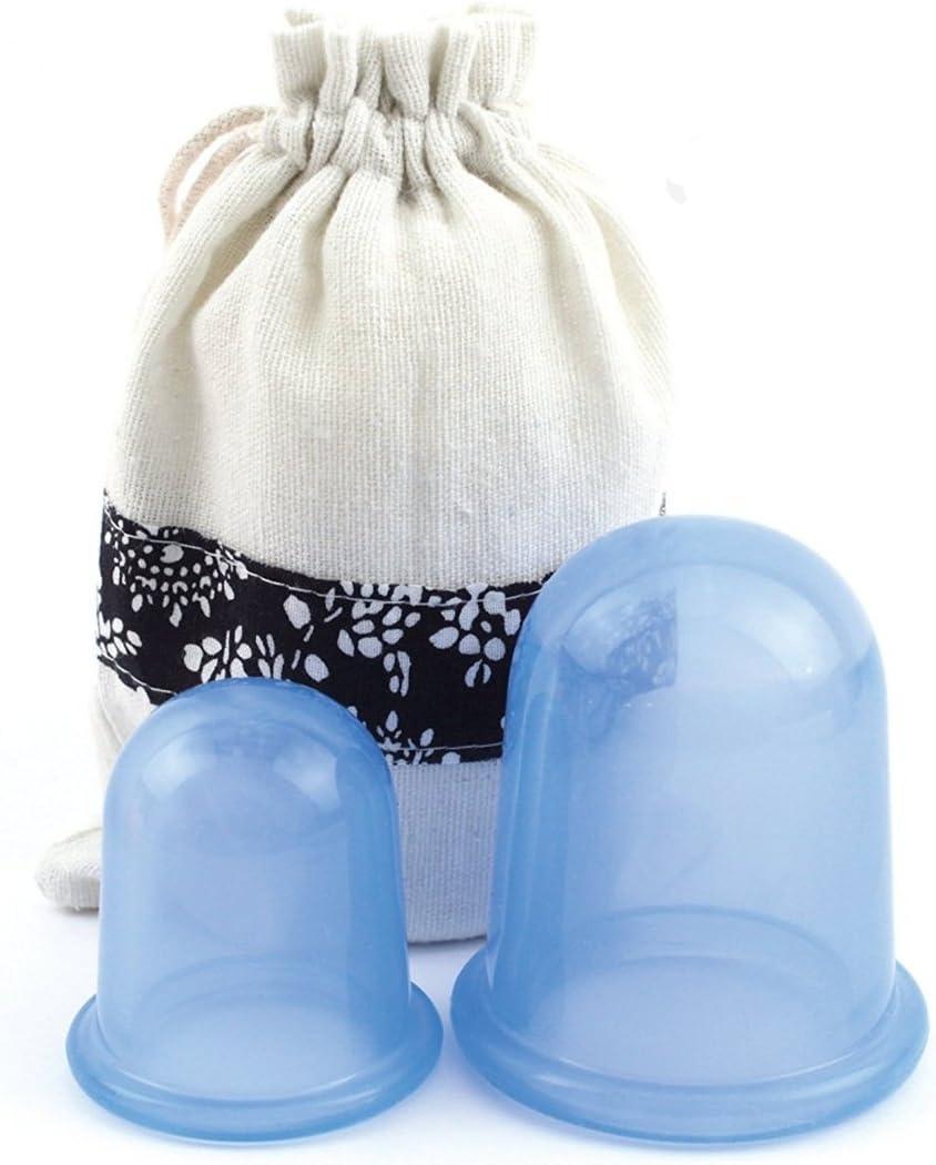 Holzsammlung 2 Piezas Silicone Masaje Tazas, Anti Celulitis del Cuerpo Cara Cuello Conjunta y Alivio del Dolor Muscular, Cupping Herramienta de Masaje Props, de Belleza Vacío Ventosas de Copa (Azul)