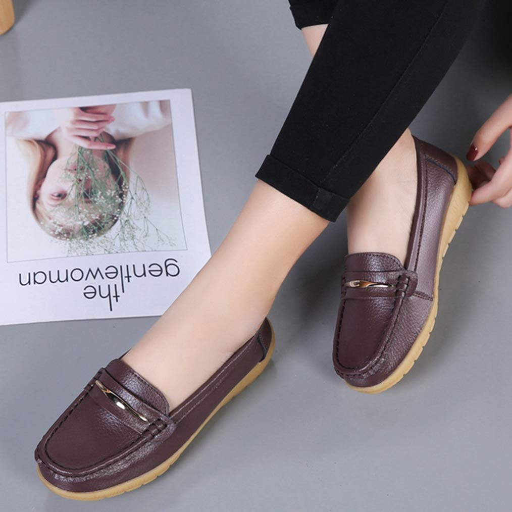 Womens Flats Oxford Loafers Comfortable Wild Breathable Round Toe Casual Slip-On Ladies Driving Oxfords Loafer