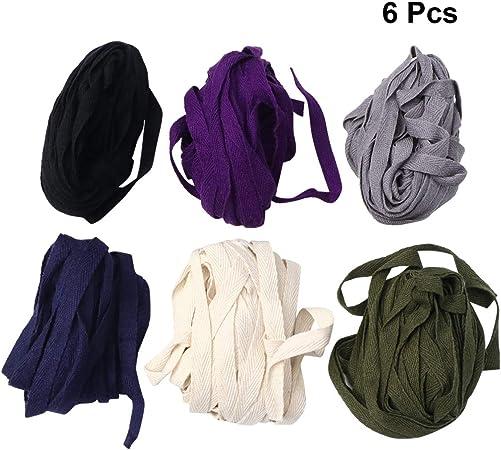 EXCEART Cinta de Cuerda Trenzada de Algodón de 3 Paquetes Cinta de Encuadernación de Sarga de Espiga Cinta de Cinta de Sarga de Algodón (12M Verde Militar Azul Oscuro Púrpura Oscuro Gris: