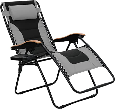 Amazon Com Phi Villa Oversize Xl Padded Zero Gravity Lounge Chair Wider Armrest Adjustable Recliner With Cup Holder Support 350 Lbs Grey Garden Outdoor
