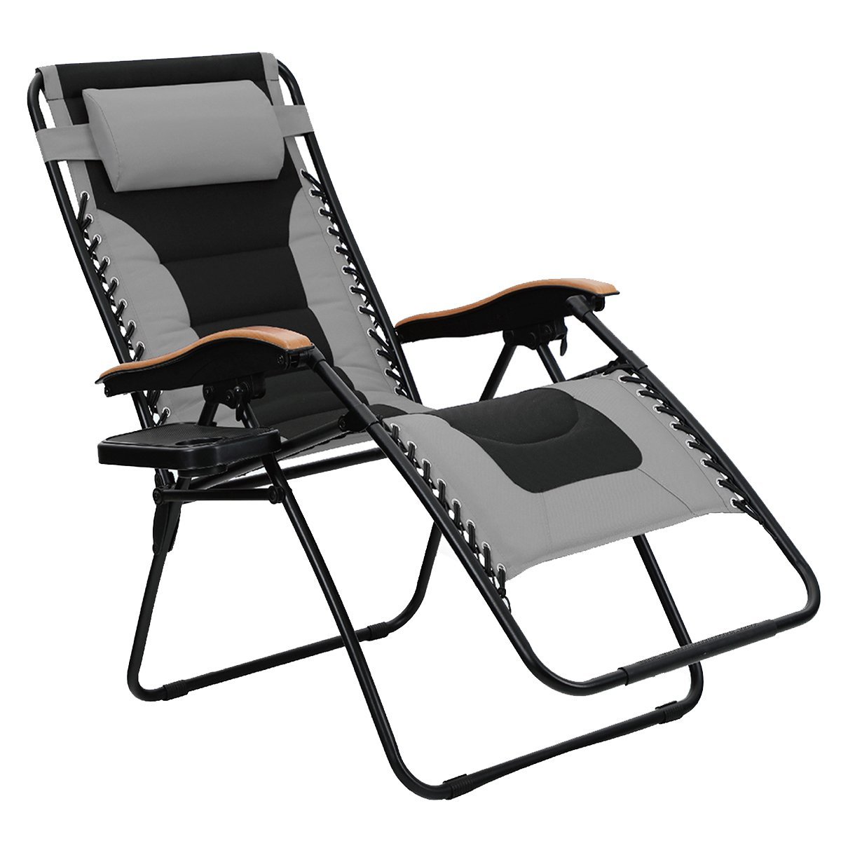 PHI VILLA Oversize XL Padded Zero Gravity Lounge Chair Wider Armrest Adjustable Recliner with Cup Holder, Support 350 LBS, Grey by PHI VILLA