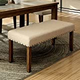 Furniture of America CM3531BN Melston I Ivory Flax Fabric Bench Seating