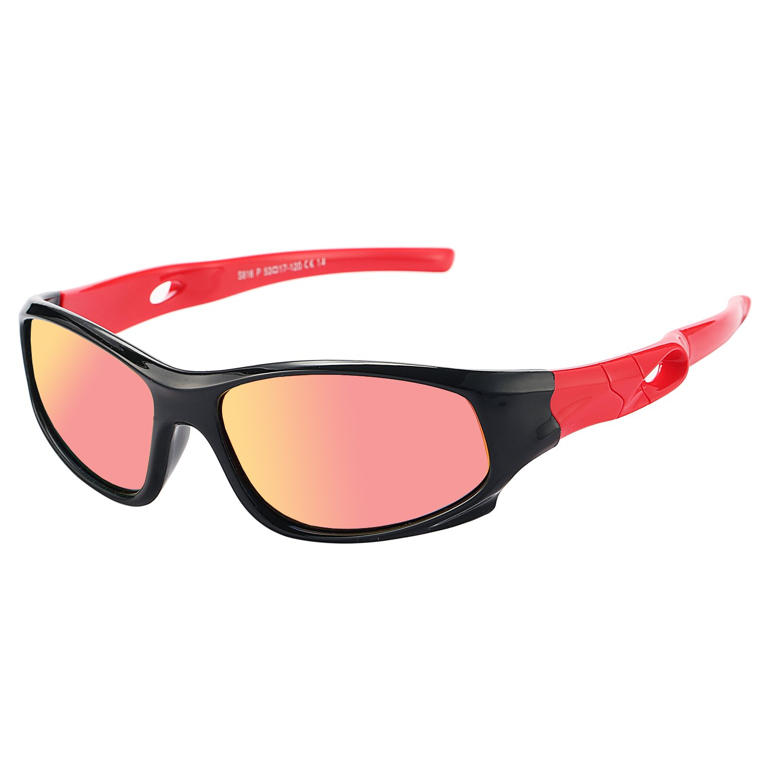 Pro Acme TR90 Unbreakable Polarized Sports Sunglasses for Kids Boys and Girls (Black/Red Mirror)