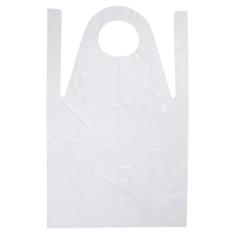 50 x Delantales de polietileno blanco blanco rizado liso 75 x 120 cm: Amazon.es: Salud y cuidado personal