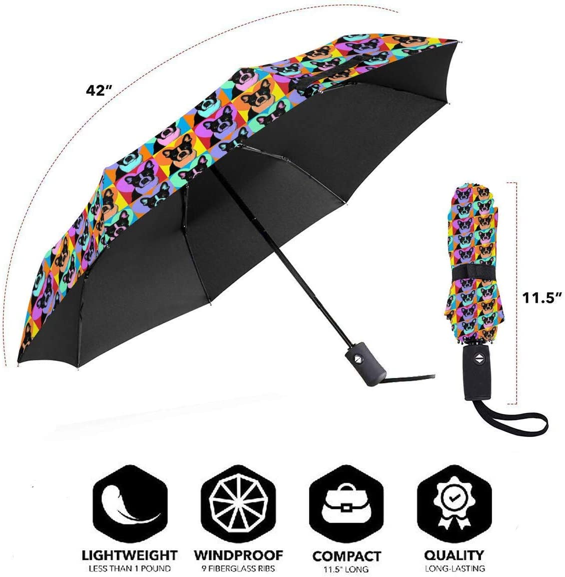 Boston Terrier Love Automatic Tri-Fold Umbrella Parasol Sun Umbrella Sunshade