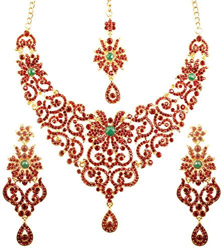 (Touchstone Indian Bollywood Traditional Royal Look Fine Filigree Carving Faux Emerald Ruby Crystals Grand Bridal Designer Jewelry Necklace Set for Women in Antique Gold Tone.)