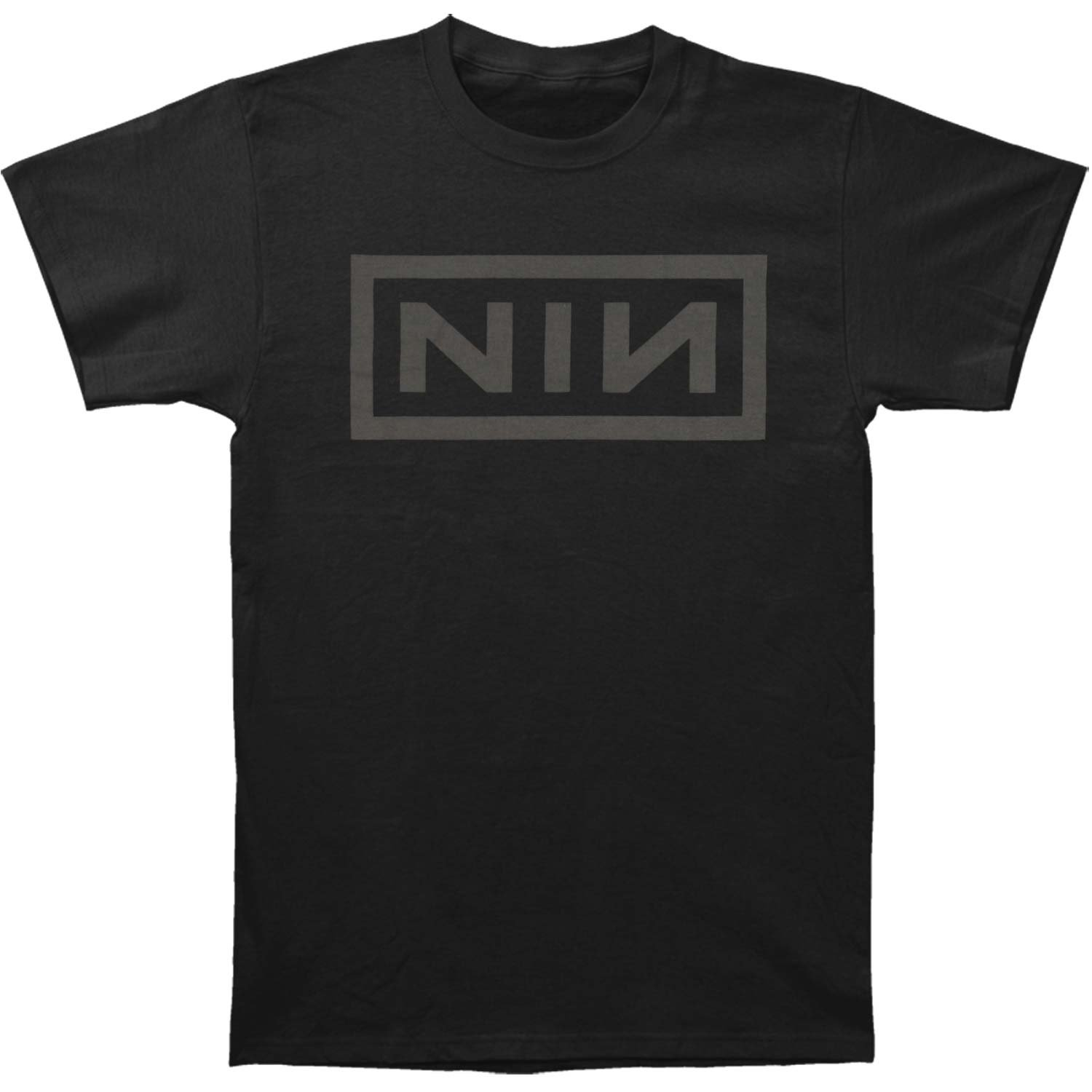 Nine Inch Nails Men's Grey Logo On Black Slim Fit T-Shirt Large Black