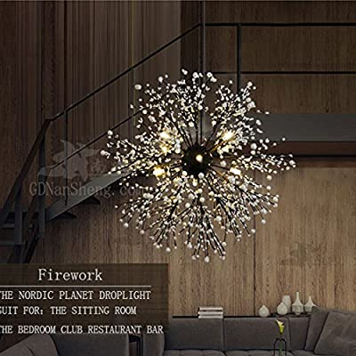 GDNS Hand Made Firework LED Light Stainless Steel Crystal Pendant Lighting