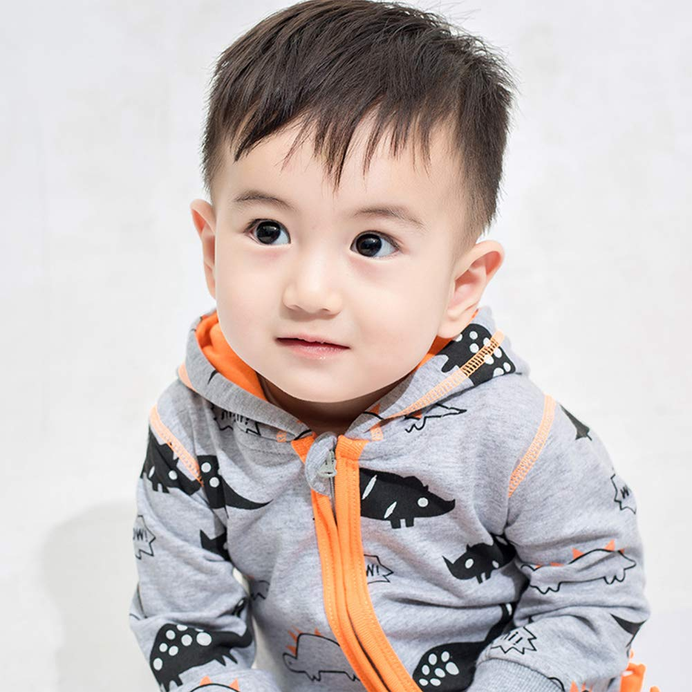 JanLEESi Baby Unisex Hoodies Romper Outfit Toddler Boys Girls Cartoon Dinosaur Bodysuit Autumn Jumpsuits,Gray