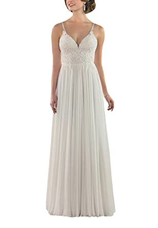 a49e7e714a3 CJMY Women s A-Line Strap V-Neck Backless Chiffon Lace Beach Wedding Dress  for