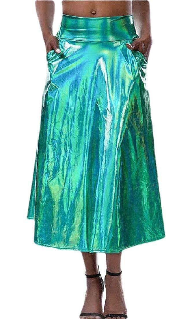 SOWTKSL - Falda holográfica para Mujer (Plisada, Acampanada ...