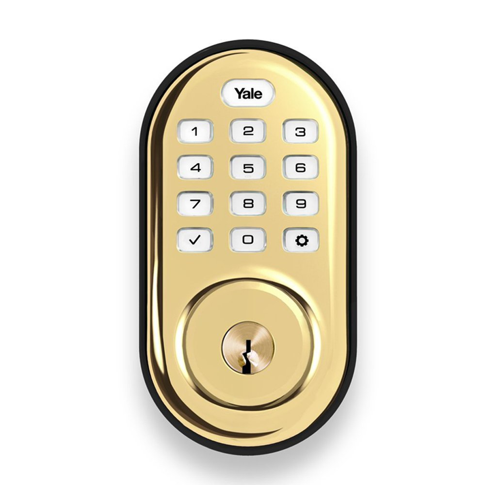 Yale Push Button Electronic Deadbolt with ZigBee, Works with Echo Plus, Samsung SmartThings, Wink and more, in Polished Brass by Yale Security