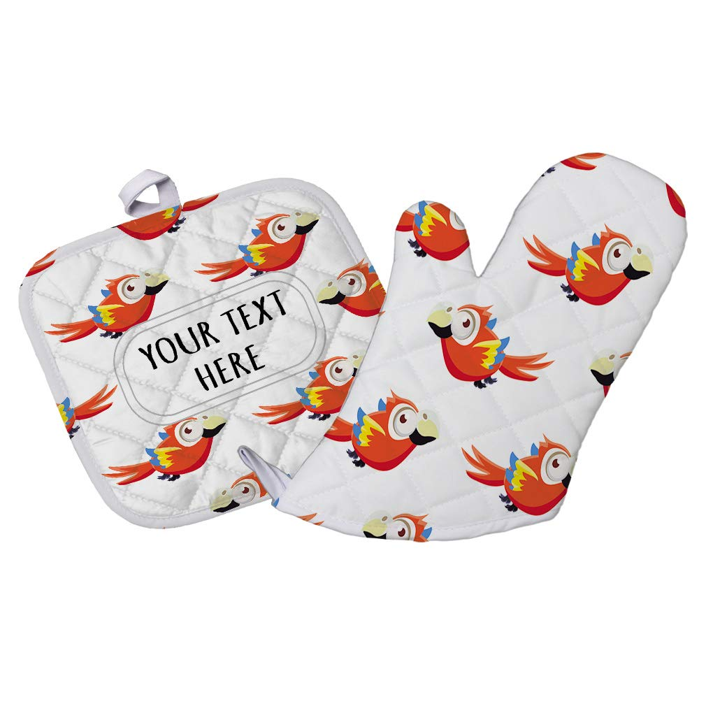 Polyester Oven Mitt & Pot Holder Set Custom Colorful Parrots Seemless Pattern Adults