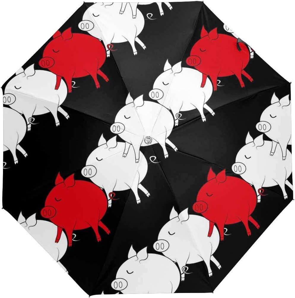 InterestPrint Custom Pig Dandelions Anti Sun UV Foldable Travel Compact Umbrella