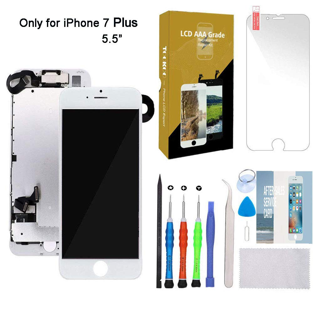 for iPhone 7 Plus Screen Replacement 5.5'' White LCD Display with 3D Touch Screen Digitizer Full Assembly + Front Camera + Earpiece + Free Screen Protector + Repair Tools Kit (White) by SmartShop