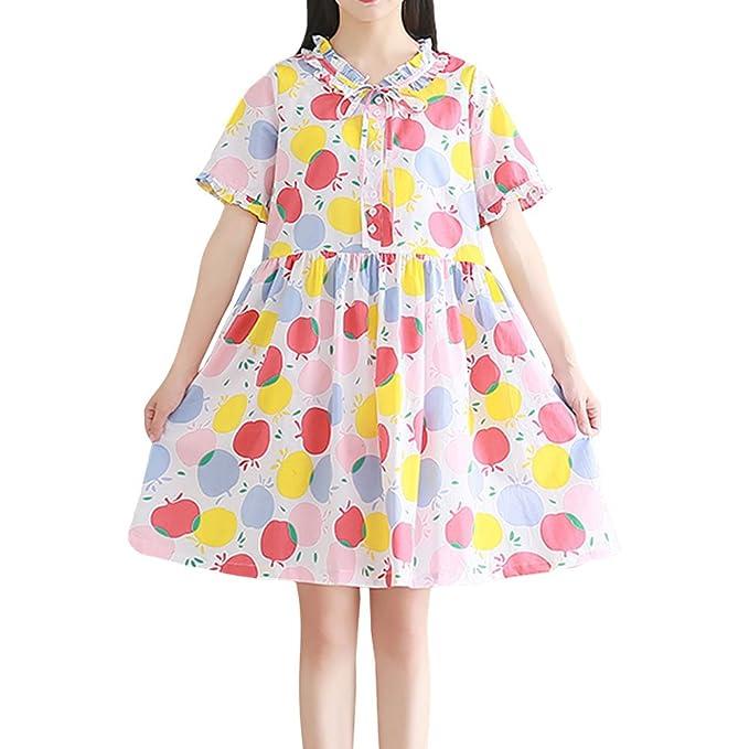 Free-Fisher Niñas Vestidos Estampados Flores Multicolor Mangas Cortas Elegante Faldas de Fiesta, Estampado