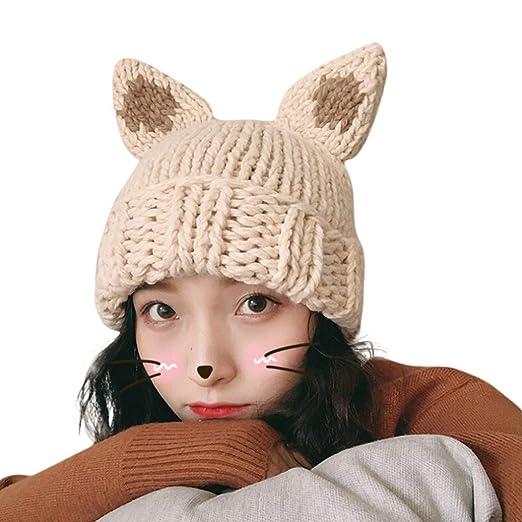 c02dc901fa630 Women Winter Hats Thick Slouchy Knit Beanie Cap Handmade Girl Cute Crochet  Animal Ears Hat (