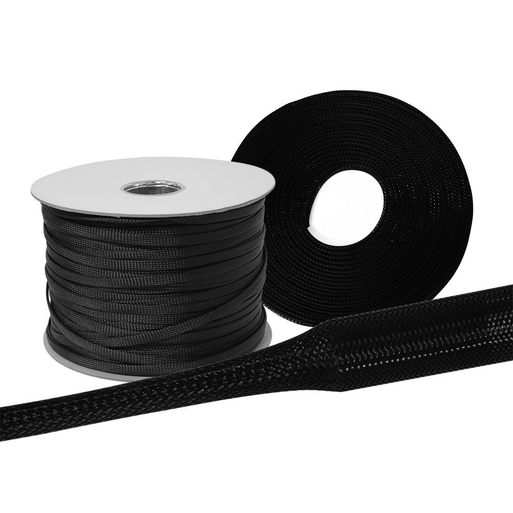 dehnbar 5 Meter Gewebeschlauch /Ø 16mm schwarz flexibel und robust Geflechtschlauch Kabelschutz Kabelschlauch Schutzschlauch Lautsprecherkabel