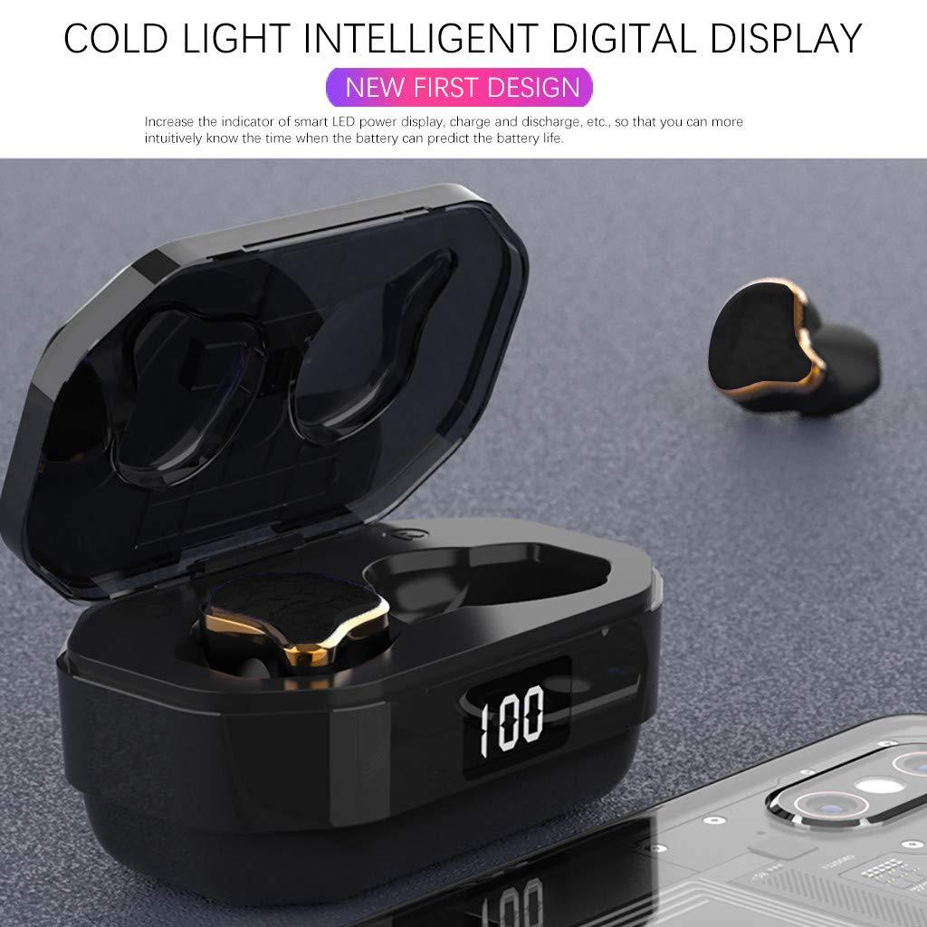 Glowjoy Bluetooth Kopfh/örer in Ear,Kabellos Bluetooth 5.0 Headset mit 2000mAh Portable Ladek/ästchen,Wireless Noise Cancelling Earbuds Sport IPX6 Wasserdicht Ohrh/örer mit Mikrofon