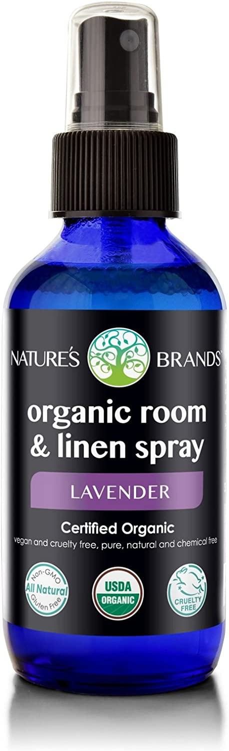 Nature's Brands Organic Room & Linen Spray by Herbal Choice Mari (Lavender, 4 Fl Oz Glass Bottle) - No Toxic Chemicals