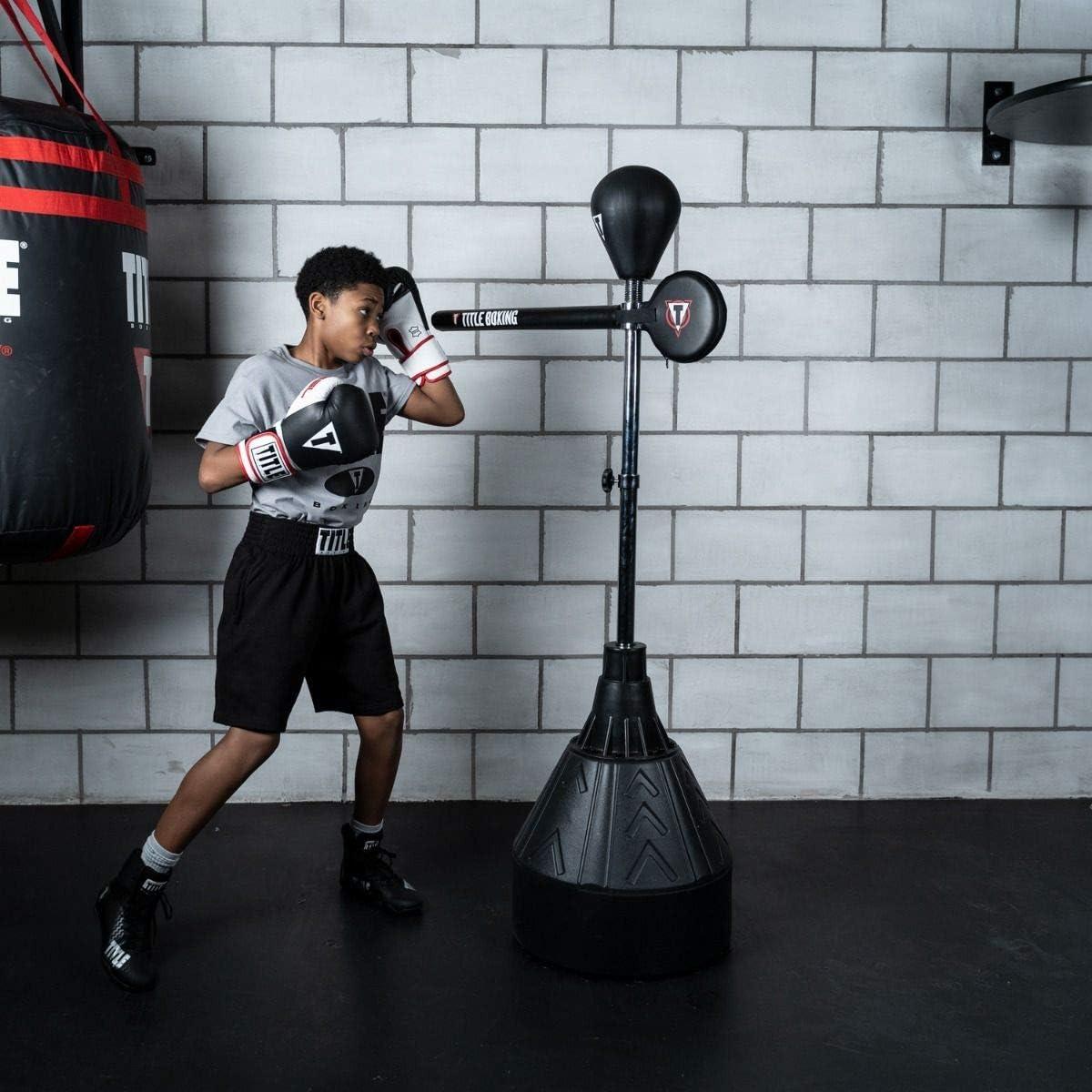 Sac de boxe professionnel sur support lourd avec barre r/éflexe /à 360 /° sac de boxe /à hauteur r/églable Adultes Entra/înement de boxe Ballon de boxe avec base /à ventouse Reflex Boxing Bar