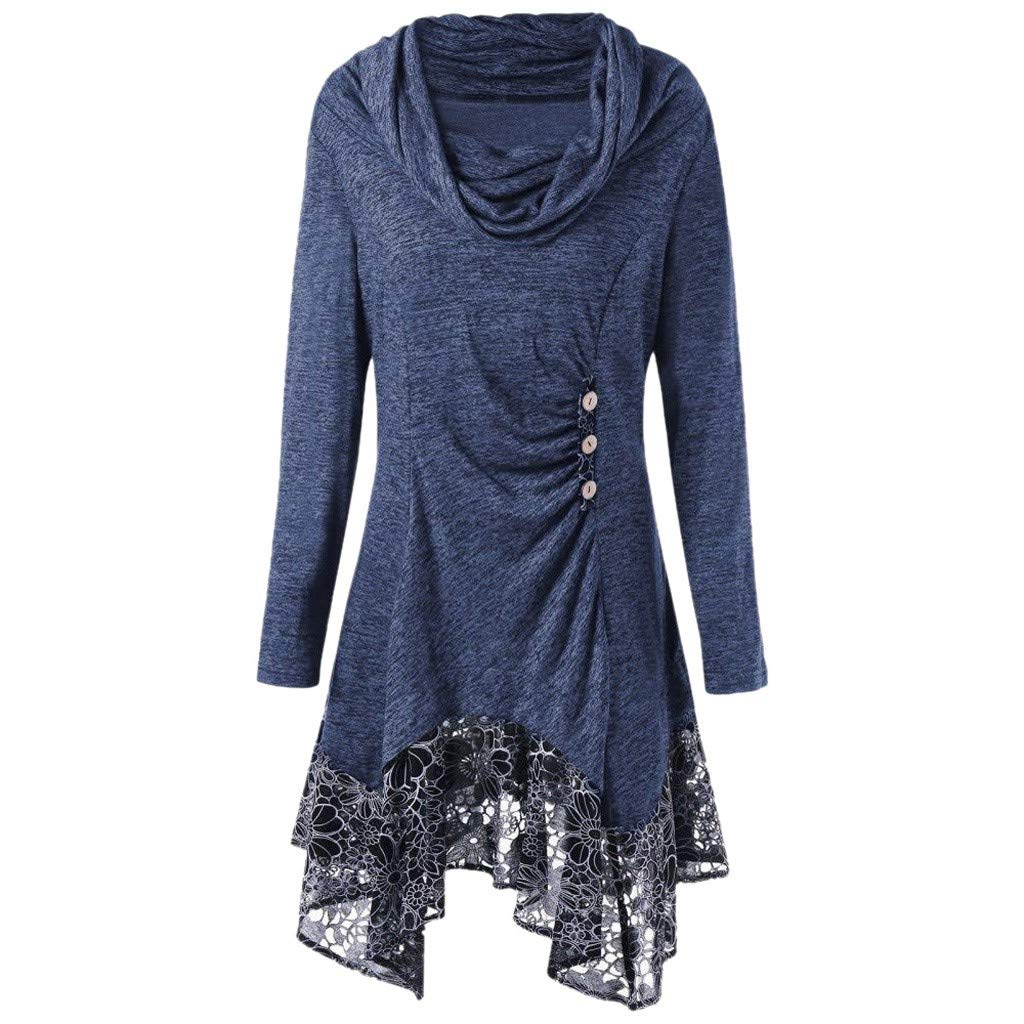 HebeTop Women's Long Sleeve T-Shirt Lace Patchwork Loose Dress Casual Swing Irregular Hem Dress Plus Size Blue by ▶HebeTop◄➟HOT SALES
