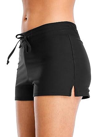 c7d22c04c1 Vegatos Women Stretch Swim Board Shorts Black Swimming Short Drawstring  Boyshort