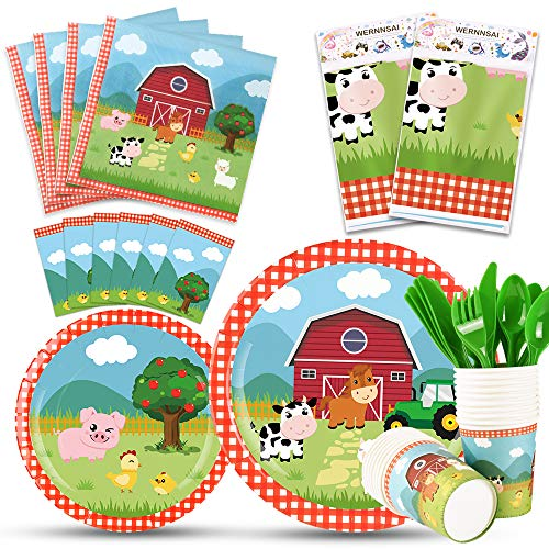 WERNNSAI Farm Party Tableware Set - Barnyard Animal Themed Party Supplies for Kids Birthday Baby Shower Disposable Tablecloth Plates Cups Napkins Cutlery Bag Utensils Serves 16 Guests (Dinnerware Animals Barnyard)