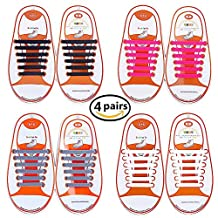 No Tie Shoelaces, Waterproof Silicon Flat Elastic Running Shoe Laces with Multicolor for Adults and Kids, Elastic Shoe Laces, Lanting