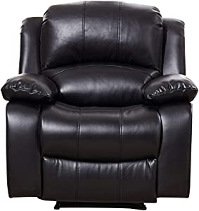 Betsy Furniture Power Reclining Bonded Leather Living Room Set (Black, Power Recliner)