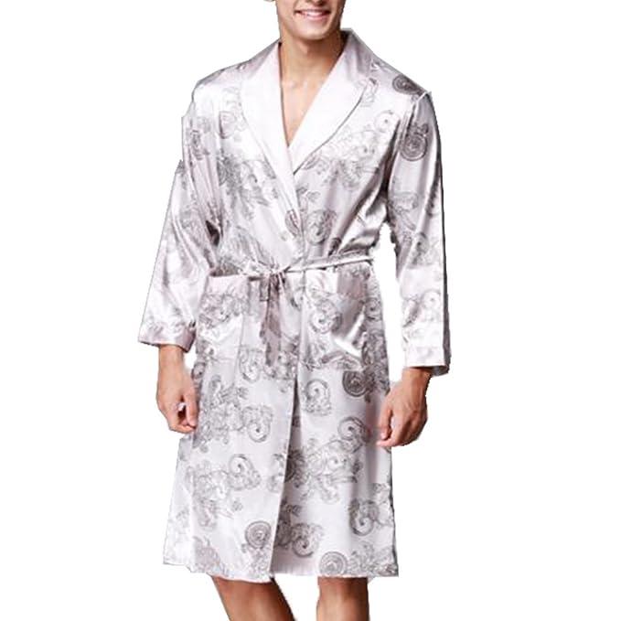 BOYANN Batas y Kimonos para Hombre Ropa de Dormir de Satén Albornoces Largos, Gris L: Amazon.es: Ropa y accesorios