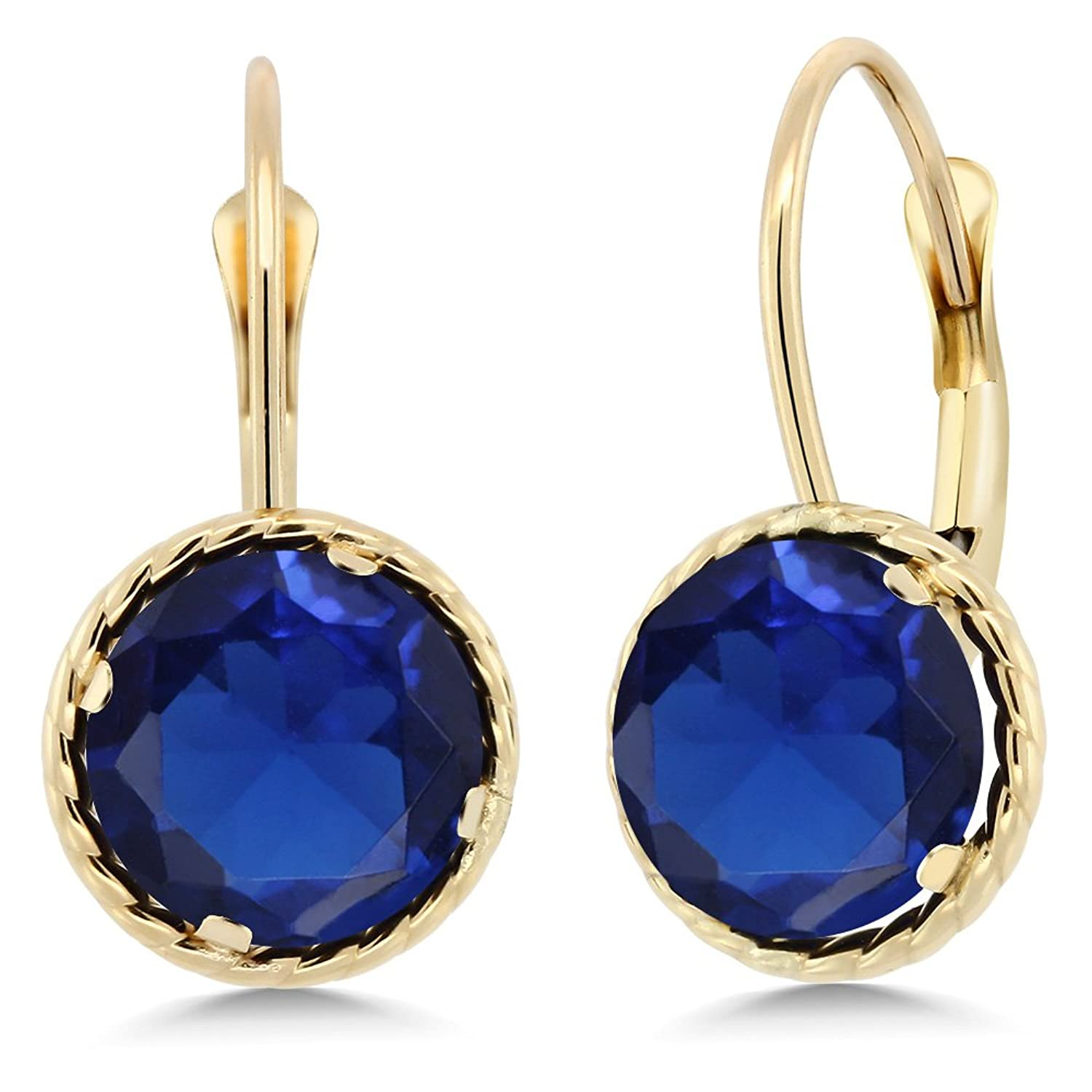 14K Yellow Gold Round Blue Simulated Sapphire Women's Dangle Earrings (5.00 cttw, 8.00MM)